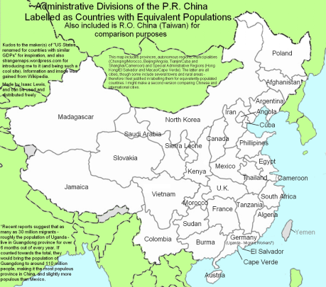 China provinces and world population map