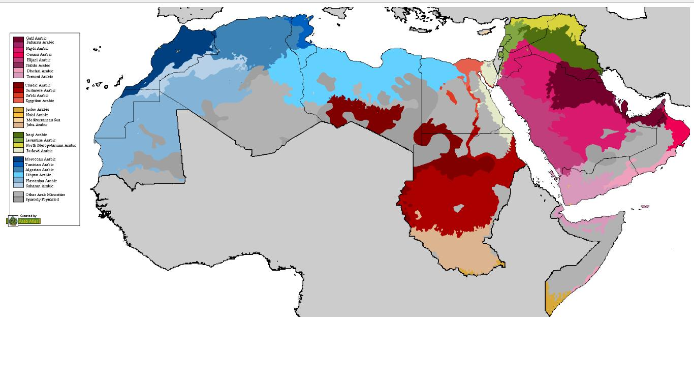 Map of arabic dialects the gulf blog map of arabic dialects 16 april 2010 gumiabroncs Image collections