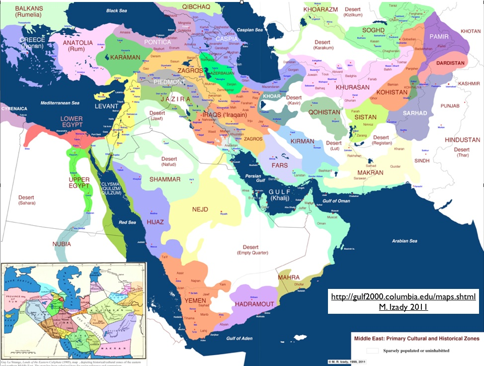 Cultural and Historical Zones Map of the Middle East | The Gulf blog