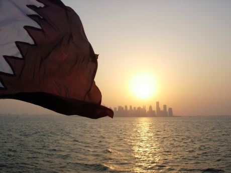 Qatar flag from the water
